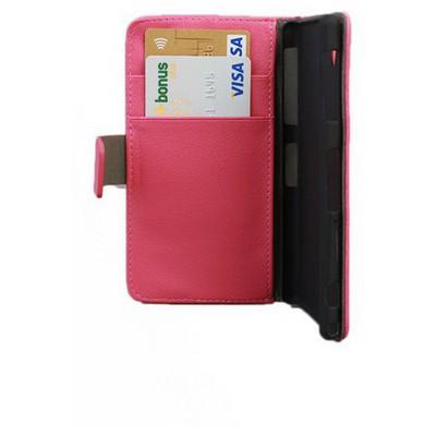 Microsonic Cüzdanlı Standlı Deri Kılıf - Sony Xperia Z1 L39h Pembe Cep Telefonu Kılıfı