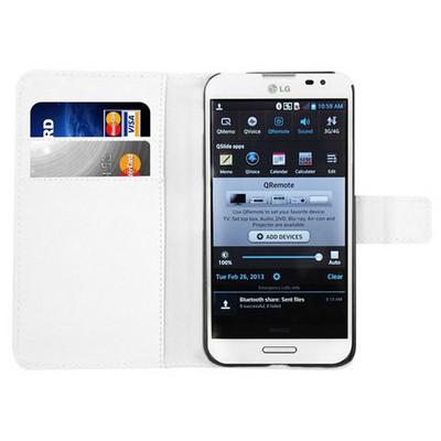 Microsonic Cüzdanlı Deri Kılıf - Lg Optimus G Pro - Beyaz Cep Telefonu Kılıfı