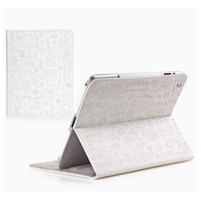 Microsonic Cute Desenli Kickstand Ipad 5 Air Deri Kılıfı Beyaz Tablet Kılıfı