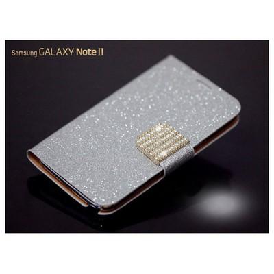 Microsonic Pearl Simli Taşlı Deri Kılıf - Samsung Galaxy Note2 N7100 Beyaz Cep Telefonu Kılıfı