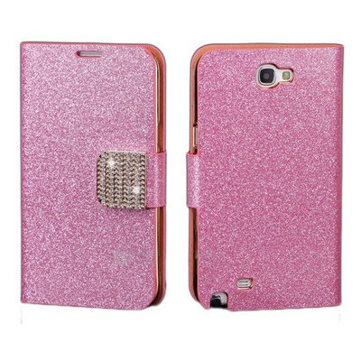 Microsonic Pearl Simli Taşlı Deri Kılıf - Samsung Galaxy Note2 N7100 Pembe Cep Telefonu Kılıfı