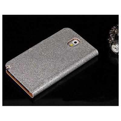 Microsonic Pearl Simli Taşlı Deri Kılıf - Samsung Galaxy Note3 N9000 Beyaz Cep Telefonu Kılıfı
