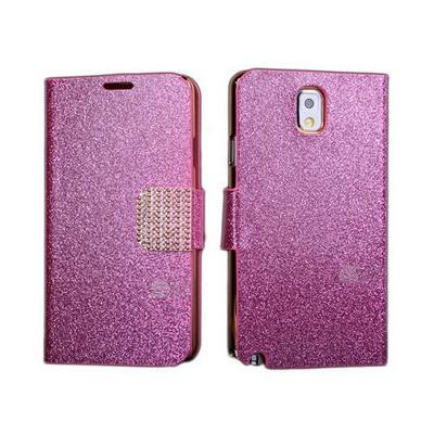 Microsonic Pearl Simli Taşlı Deri Kılıf - Samsung Galaxy Note3 N9000 Pembe Cep Telefonu Kılıfı