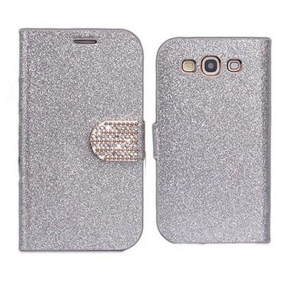 Microsonic Pearl Simli Taşlı Deri Kılıf - Samsung Galaxy S3 I9300 Beyaz Cep Telefonu Kılıfı