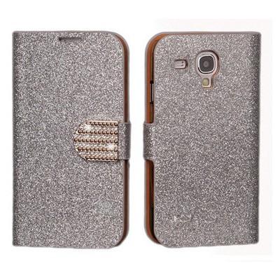Microsonic Pearl Simli Taşlı Deri Kılıf - Samsung Galaxy S3 Mini I8190 Beyaz Cep Telefonu Kılıfı