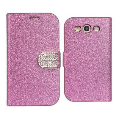 Microsonic Pearl Simli Taşlı Deri Kılıf - Samsung Galaxy S3 I9300 Pembe Cep Telefonu Kılıfı