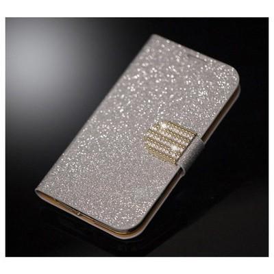 Microsonic Pearl Simli Taşlı Deri Kılıf - Samsung Galaxy S4 I9500 Beyaz Cep Telefonu Kılıfı