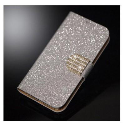 Microsonic Pearl Simli Taşlı Deri Kılıf - Samsung Galaxy S4 Mini I9190 Beyaz Cep Telefonu Kılıfı