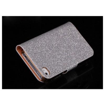 Microsonic Pearl Simli Taşlı Deri Kılıf - Iphone 4s Beyaz Cep Telefonu Kılıfı