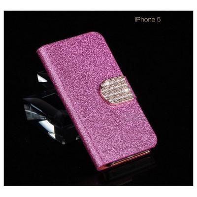 Microsonic Pearl Simli Taşlı Deri Kılıf - Iphone 5c Pembe Cep Telefonu Kılıfı