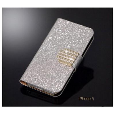Microsonic Pearl Simli Taşlı Deri Kılıf - Iphone 5 & 5s Beyaz Cep Telefonu Kılıfı