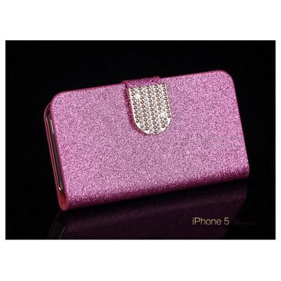 Microsonic Pearl Simli Taşlı Deri Kılıf - Iphone 5 & 5s Pembe Cep Telefonu Kılıfı