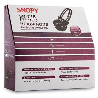 Snopy SN-715 Kablolu Mikrofonlu Siyah Kulak Üstü Kulaklık