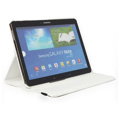 Microsonic 360 Rotating Stand Deri Kılıf Samsung Galaxy Note 10.1 2014 Edition P600 Beyaz Tablet Kılıfı