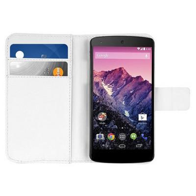 Microsonic Cüzdanlı Deri Kılıf - Lg Nexus 5 - Beyaz Cep Telefonu Kılıfı