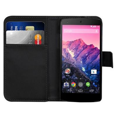 Microsonic Cüzdanlı Deri Kılıf - Lg Nexus 5 - Siyah Cep Telefonu Kılıfı