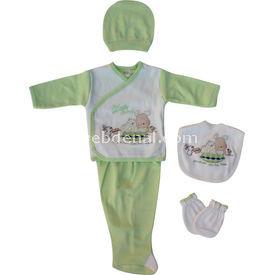 Bebitof 667 Uyuyan Ayıcık 5li Set Yeşil 0-3 Ay (56-62 Cm) Kız Bebek Hastane Çıkışı