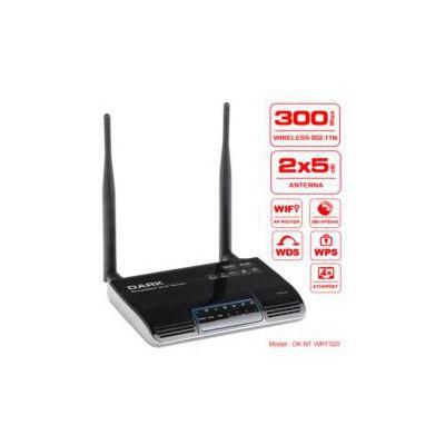 Dark DK-NT-WRT320 Kablosuz 300Mbps 2x5 dBi 4 Portlu ,Değiştirilebilir Antenli Router