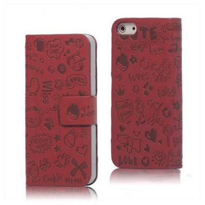 Microsonic Iphone 5 & 5s Mini Figürlü Deri Kılıf Kırmızı Cep Telefonu Kılıfı