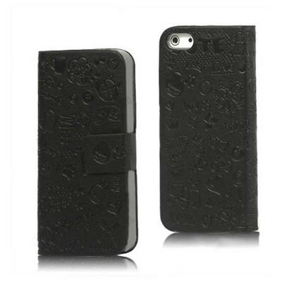 Microsonic Iphone 5 & 5s Mini Figürlü Deri Kılıf Siyah Cep Telefonu Kılıfı