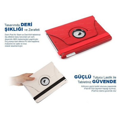 Dark Dk-ac-ıp5krt Ipad Air Uyumlu 360 Derece Dönebilen Ajanda Tip Kılıf Siyah Renk Tablet Kılıfı