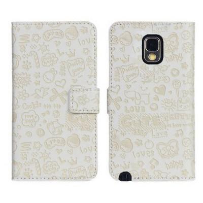 Microsonic Cute Desenli Deri Kılıf Samsung Galaxy Note 3 N9000 Beyaz Cep Telefonu Kılıfı