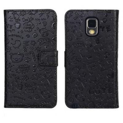 Microsonic Cute Desenli Deri Kılıf Samsung Galaxy Note 3 N9000 Siyah Cep Telefonu Kılıfı