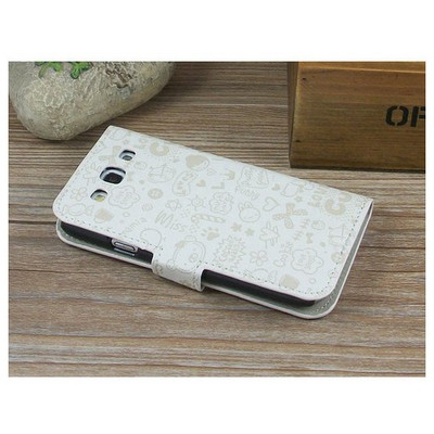 Microsonic Cute Desenli Deri Kılıf Samsung Galaxy S3 I9300 Beyaz Cep Telefonu Kılıfı
