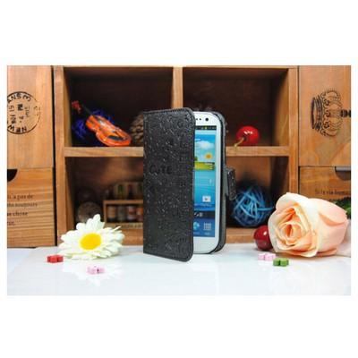 Microsonic Cute Desenli Deri Kılıf Samsung Galaxy S3 I9300 Siyah Cep Telefonu Kılıfı