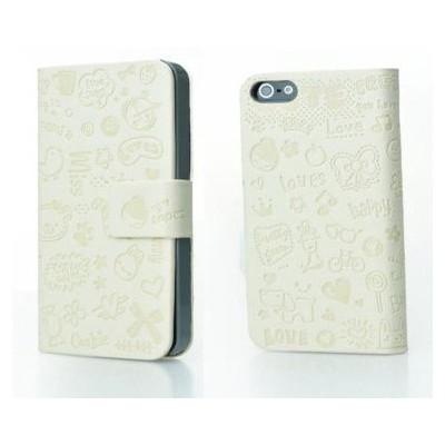 Microsonic Cute Desenli Deri Kılıf Iphone 4s Beyaz Cep Telefonu Kılıfı