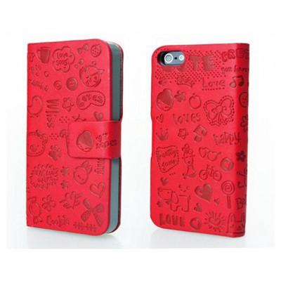 Microsonic Cute Desenli Deri Kılıf Iphone 4s Kırmızı Cep Telefonu Kılıfı
