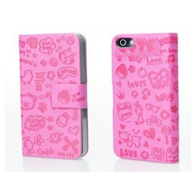 Microsonic Cute Desenli Deri Kılıf Iphone 4s Pembe Cep Telefonu Kılıfı