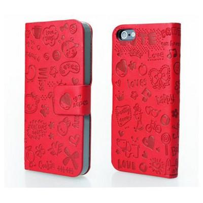Microsonic Cute Desenli Deri Kılıf Iphone 5c Kırmızı Cep Telefonu Kılıfı