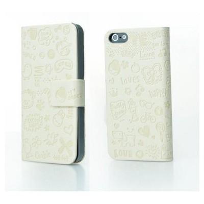 Microsonic Cute Desenli Deri Kılıf Iphone 5 5s Beyaz Cep Telefonu Kılıfı