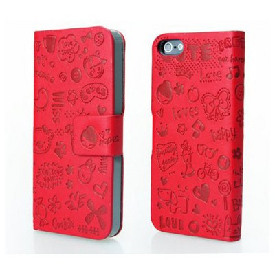 Microsonic Cute Desenli Deri Kılıf Iphone 5 & 5s Kırmızı Cep Telefonu Kılıfı