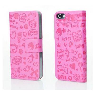 Microsonic Cute Desenli Deri Kılıf Iphone 5 & 5s Pembe Cep Telefonu Kılıfı