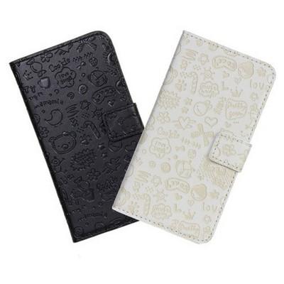 Microsonic Cute Desenli Deri Kılıf Lg G2 Beyaz Cep Telefonu Kılıfı