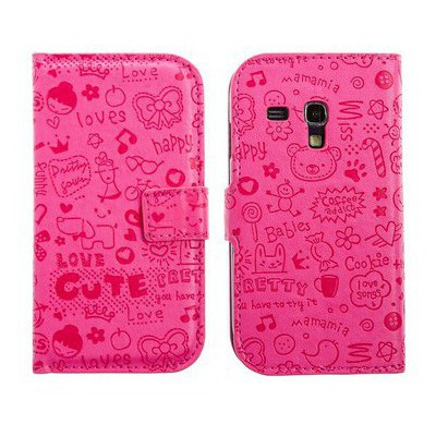 Microsonic Cute Desenli Deri Kılıf Samsung Galaxy S3 Mini I8190 Pembe Cep Telefonu Kılıfı