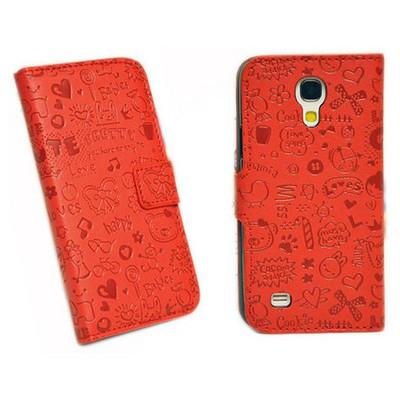 Microsonic Cute Desenli Deri Kılıf Samsung Galaxy S4 Mini I9190 Kırmızı Cep Telefonu Kılıfı