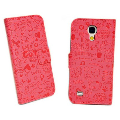 Microsonic Cute Desenli Deri Kılıf Samsung Galaxy S4 Mini I9190 Pembe Cep Telefonu Kılıfı
