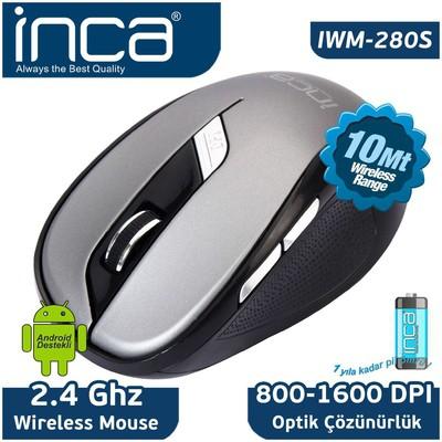 Inca Iwm-280s Wıreless Nano 2.4ghz  Siyah Gri Mouse
