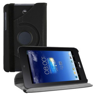 Microsonic 360 Rotating Stand Deri Kılıf Asus Memo Pad Hd7 Me173x Siyah Tablet Kılıfı