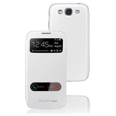 Microsonic Double View Delux Kapaklı Kılıf Samsung Galaxy Grand I9082 Beyaz Cep Telefonu Kılıfı