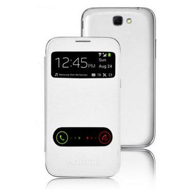 Microsonic Double View Delux Kapaklı Kılıf Samsung Galaxy Note 2 N7100 Beyaz Cep Telefonu Kılıfı