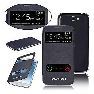 Microsonic Double View Delux Kapaklı Kılıf Samsung Galaxy Note 2 N7100 Siyah Cep Telefonu Kılıfı