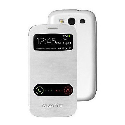 Microsonic Double View Delux Kapaklı Kılıf Samsung Galaxy S3 I9300 Beyaz Cep Telefonu Kılıfı