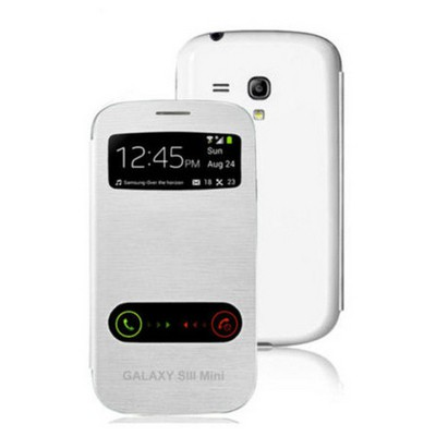 Microsonic Double View Delux Kapaklı Kılıf Samsung Galaxy S3 Mini I8190 Beyaz Cep Telefonu Kılıfı