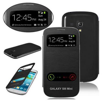 Microsonic Double View Delux Kapaklı Kılıf Samsung Galaxy S3 Mini I8190 Siyah Cep Telefonu Kılıfı