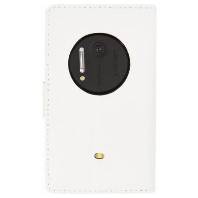 Microsonic Cüzdanlı Standlı Deri Kılıf - Nokia Lumia 1020 Beyaz Cep Telefonu Kılıfı