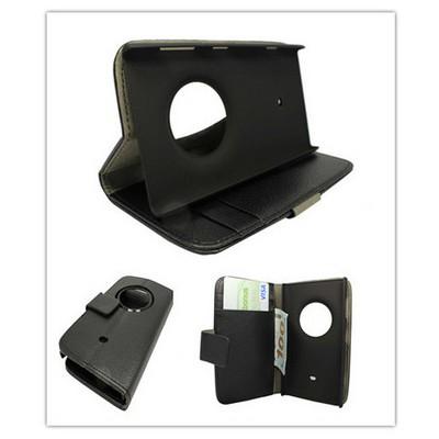 Microsonic Cüzdanlı Standlı Deri Kılıf - Nokia Lumia 1020 Siyah Cep Telefonu Kılıfı